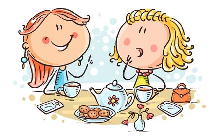 Friends talking and drinking tea, cartoon illustration