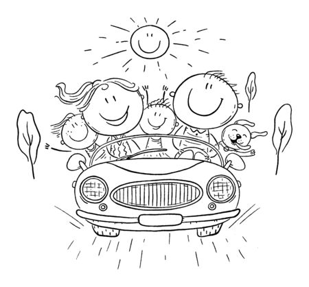 Happy family travelling by car, vacation trip, cartoon vector illustration Illustration
