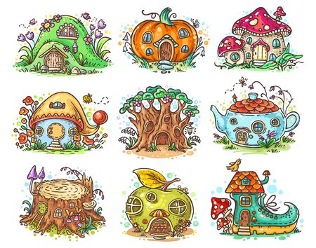 Cute cartoon elven, fairy or gnome houses in the form of pumpkin, tree, teapot, boot, apple, mushroom, stump Иллюстрация