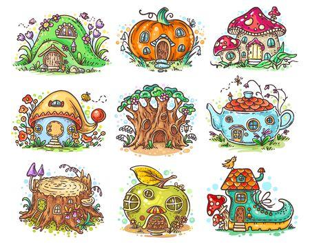 Cute cartoon elven, fairy or gnome houses in the form of pumpkin, tree, teapot, boot, apple, mushroom, stump Ilustração