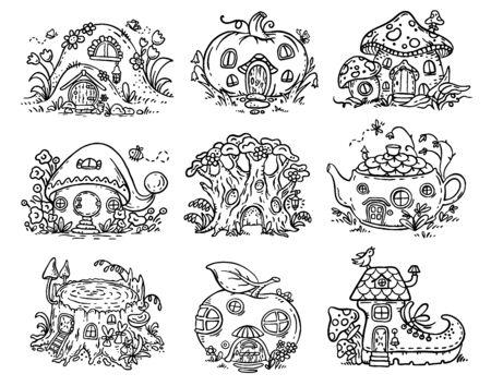Casas de elfos, hadas o gnomos de dibujos animados en forma de calabaza, árbol, tetera, bota, manzana, seta, tocón Ilustración de vector