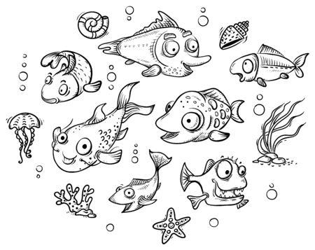 A set of cartoon tropical fishes, outline clip art Ilustração