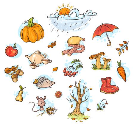 Autumn clipart set, cartoon vector illustration, hand-drawn