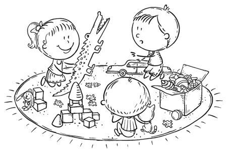 Kids playing with toys on the carpet Ilustração