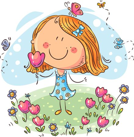 Cartoon girl with flowers, can be used as a greeting card