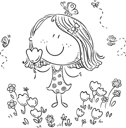 Cartoon girl with flowers, can be used as a greeting card, outline