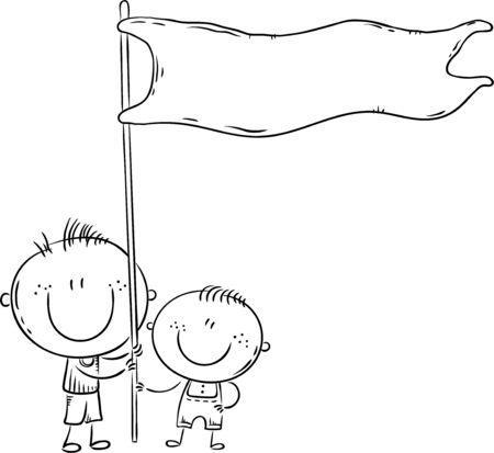 Kids holding a flag, outline vector illustration