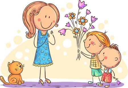 Kinder überreichen ihrer Mutter oder ihrem Lehrer Blumen