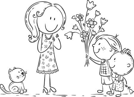 Kids presenting flowers to their mother or teacher, line art Vectores