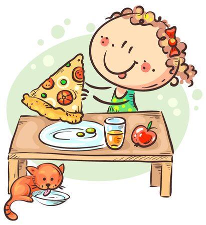 Little girl eating pizza, having a snack or meal Ilustração