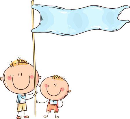 Kids holding a blue flag, colorful vector illustration