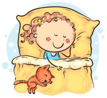Cartoon girl sleeping in her bed, kids clipart