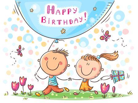 Cartoon birthday greeting card, children vector illustration