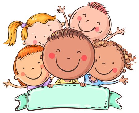 Happy kids with a copy space, colorful vector illustration Ilustração