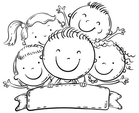 Happy kids with a copy space, black and white cartoon illustration