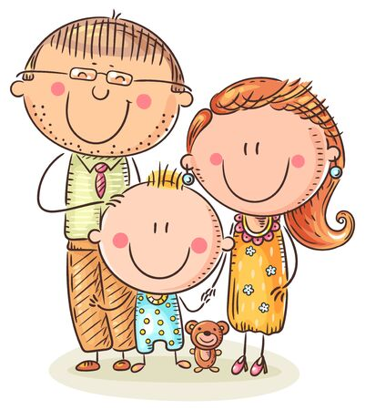 Happy family with one child, colorful vector illustration
