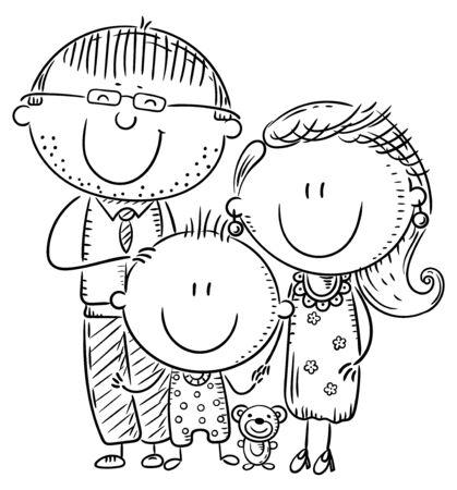 Glückliche Familie mit einem Kind, Umrissvektorillustration