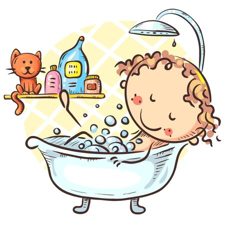 Cartoon girl taking bath at home, vector drawing Illustration