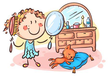 Happy cartoon girl combing her hair, colorful vector illustration Ilustração