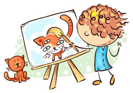 Girl painting her cat, Vector, Child Drawing