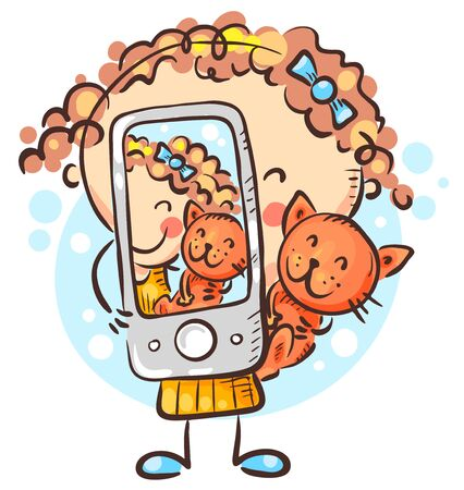 Child making selfie with her cat, vector illustration