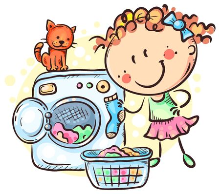 Girl washing clothes with a washing machine