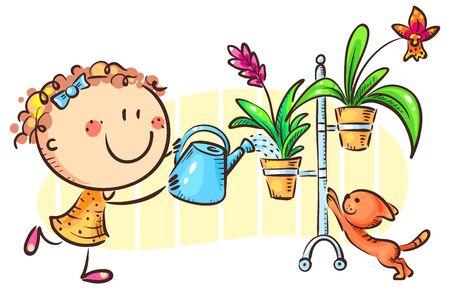 Happy girl watering indoor plants, cartoon clipart