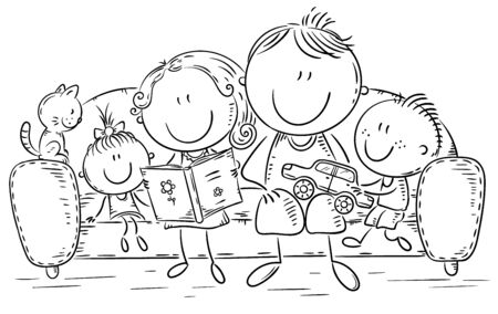 Family with two children at home together, outline