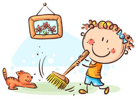 Ragazza che spazza il pavimento, fa i lavori domestici, disegna cartoni animati