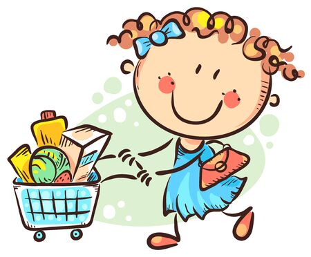 Cartoon girl doing shopping, colorful vector illustration