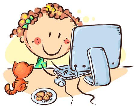 Cartoon girl at the computer, hand drawn vector illustration