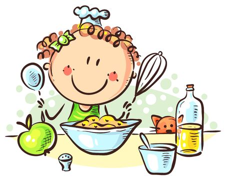 Happy cartoon girl cooking, clipart vector illustration