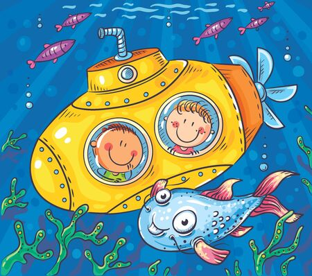 Children in a submarine explore the underwater world, Vector, Childs Drawing Illustration