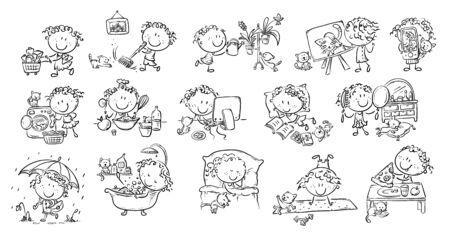 Girls life - everyday activities, daily routine, vector outline Ilustração