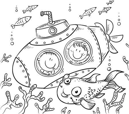 Children in a submarine explore the underwater world, black and white Ilustração