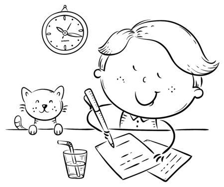 Boy writing a letter or making homework at the desk, outline vector illustration
