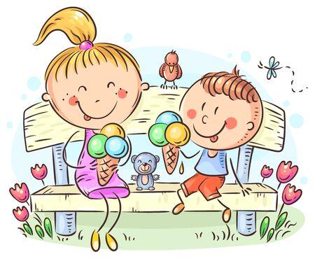 Kinder essen Eis, das auf einer Bank im Park sitzt, bunte Vektorillustration