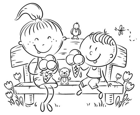 Kids eating ice-cream sitting on a bench in the park, outline vector illustration