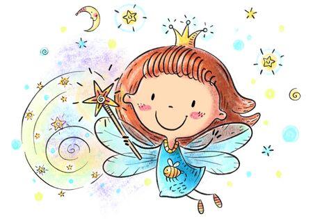 Little cartoon fairy with magic stick, childrens illustration