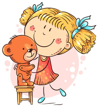 Little girl playing with a teddy bear, colorful vector illustration
