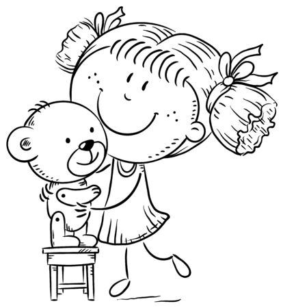 Little girl playing with a teddy bear, cartoon drawing