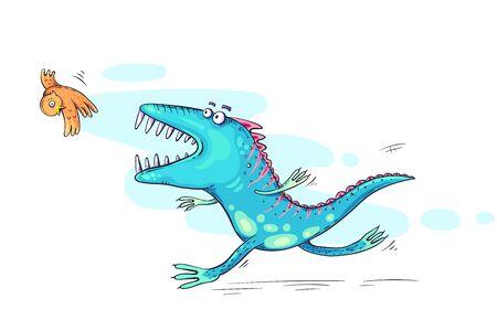 Monster or dinosaur catching a bird, cartoon illustration 向量圖像