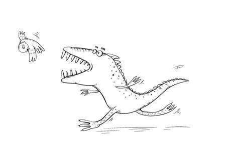Monster or dinosaur catching a bird, outline cartoon illustration Illustration
