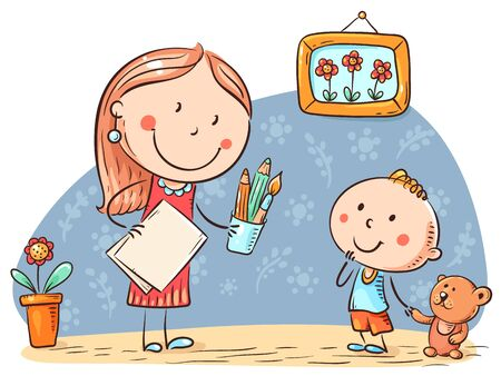 Teacher or mother encouraging the kid to draw, vector illustration.