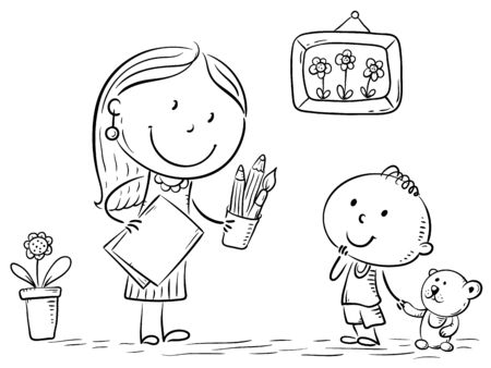 Teacher or mother encouraging the kid to draw, illustration. Ilustração