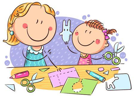 Mother or teacher and a little girl enjoy crafting together, colorful illustration Vektorové ilustrace