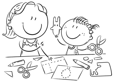 Mother or teacher and a little girl enjoy crafting together, outline