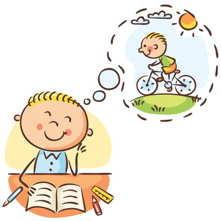 Boy is waiting till the lesson is over and he can ride a bike