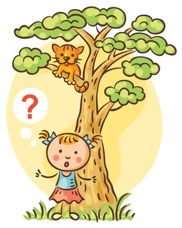 Little girl has lost her kitten, which is on a tree above