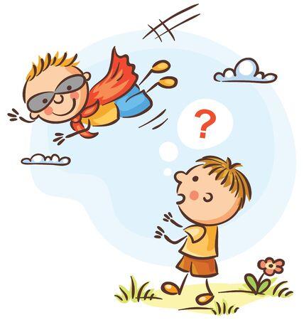 Child is surprised to see his friend as superhero Ilustração